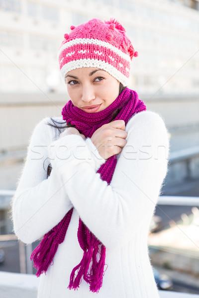 Mosolygó nő visel sál kalap kívül divat Stock fotó © wavebreak_media