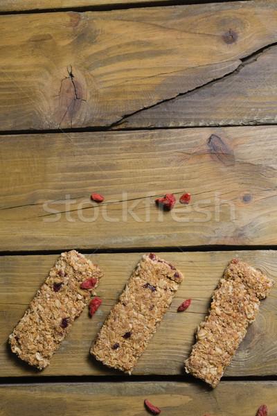 Három granola rácsok fa asztal kilátás fitnessz Stock fotó © wavebreak_media