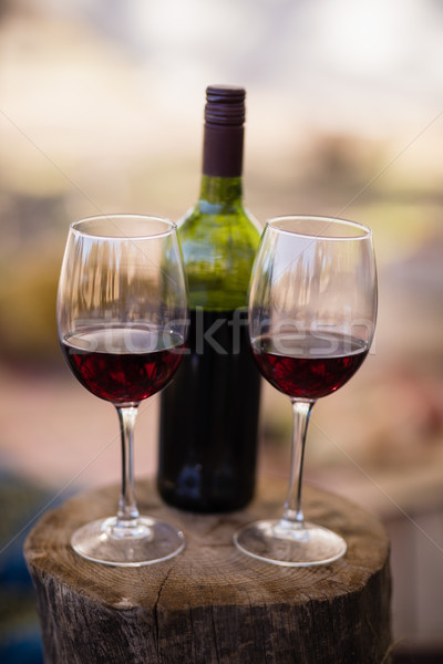 Wine bottle and glass on wooden log Stock photo © wavebreak_media