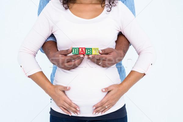 Echtgenoot vrouw baby tekst zwangere Stockfoto © wavebreak_media