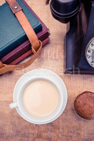 Coffee with old landline telephone and diaries Stock photo © wavebreak_media