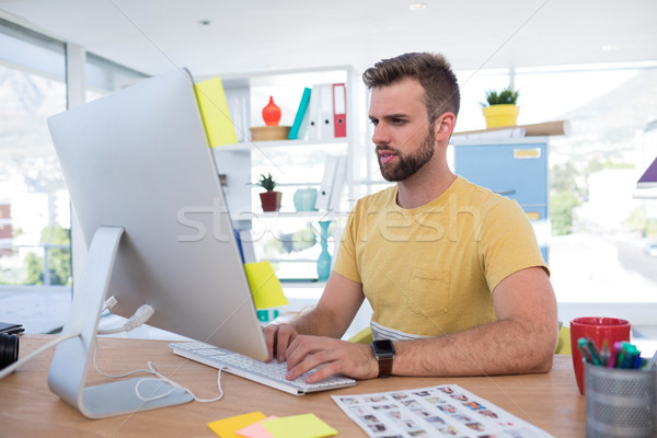 男性 執行 作業 コンピュータ オフィス 電話 ストックフォト © wavebreak_media