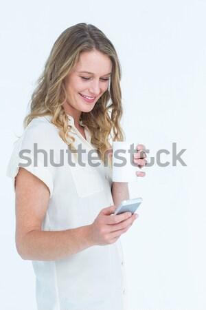 Mulher jovem telefone móvel feliz comunicação celular Foto stock © wavebreak_media