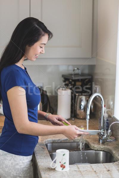 Lavado hasta cocina casa feliz Foto stock © wavebreak_media