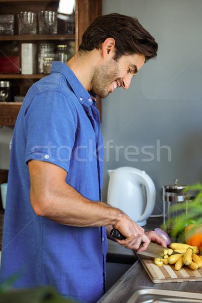男子 蔬菜 廚房櫃檯 快樂 對付 商業照片 © wavebreak_media