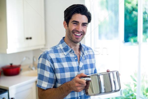 Portret jonge man keuken home voedsel Stockfoto © wavebreak_media
