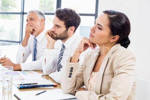 Munkások gondolkodik gesztikulál munka üzlet iroda Stock fotó © wavebreak_media