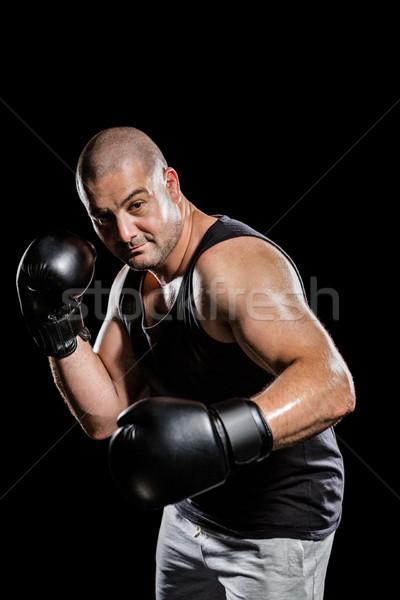 Boxoló előad box hozzáállás fekete férfi Stock fotó © wavebreak_media
