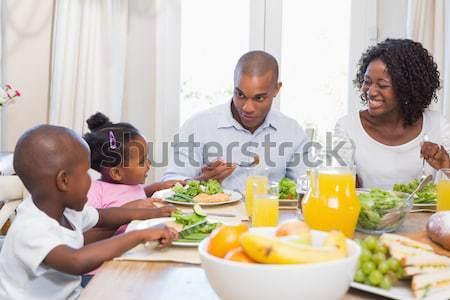счастливая семья кухне женщину человека ребенка Сток-фото © wavebreak_media