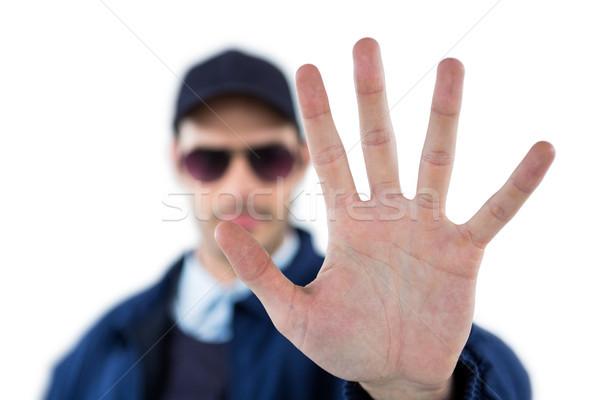Segurança oficial pare gesto branco Foto stock © wavebreak_media