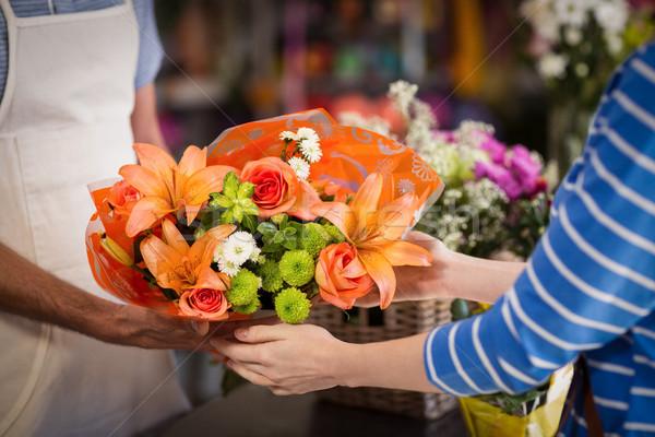 Stockfoto: Bloemist · boeket · bloem · klant · winkel · vrouw