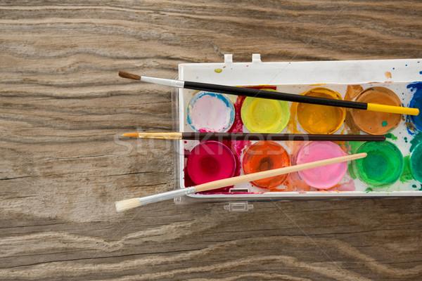 Festőecsetek paletta művészet oktatás festmény ecset Stock fotó © wavebreak_media