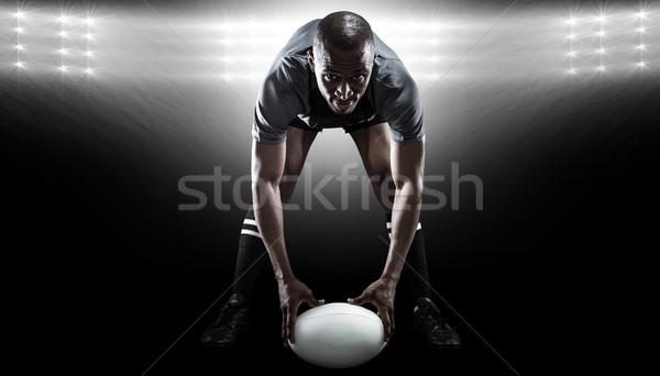 összetett kép portré sportoló tart labda Stock fotó © wavebreak_media