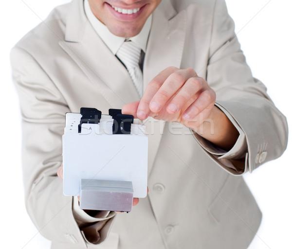 Işadamı danışman kartvizit telefon temas Stok fotoğraf © wavebreak_media