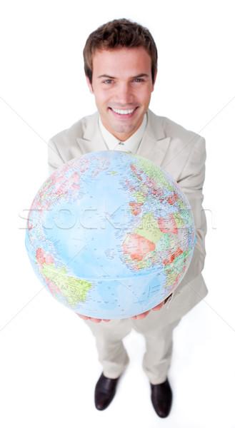 Pozytywny biznesmen świecie odizolowany biały Zdjęcia stock © wavebreak_media