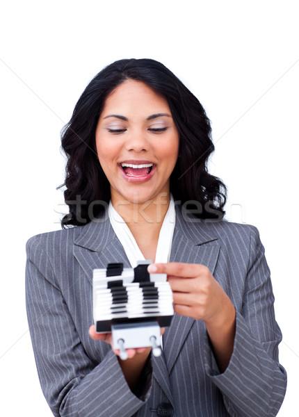Hevesli işkadını danışman kartvizit iş temas Stok fotoğraf © wavebreak_media