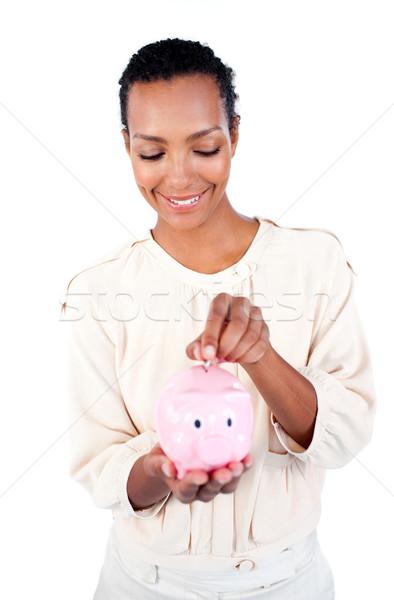 Jovem empresária dinheiro branco Foto stock © wavebreak_media