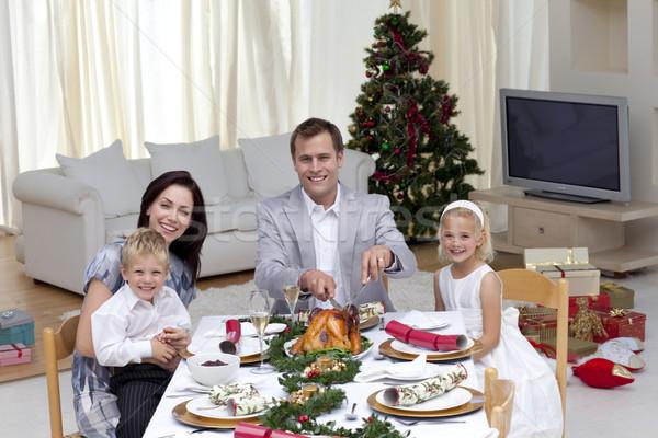 Stockfoto: Familie · vieren · christmas · diner · Turkije · home