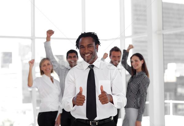 Stockfoto: Portret · mannelijke · leider · team · business · zakenman