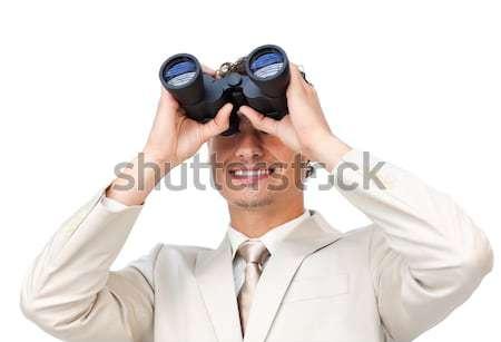 Uśmiechnięty biznesmen patrząc lornetki biały człowiek Zdjęcia stock © wavebreak_media