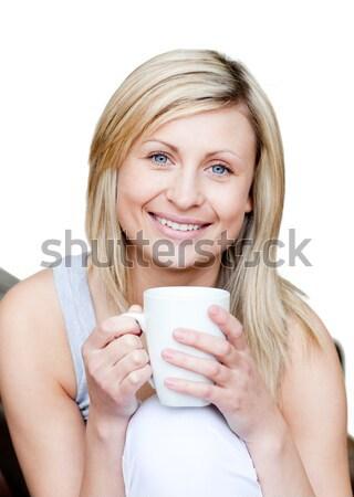 Stockfoto: Cute · vrouw · drinken · beker · thee · witte