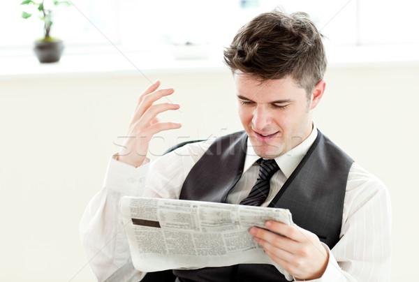 Portret positief zakenman lezing krant kantoor Stockfoto © wavebreak_media