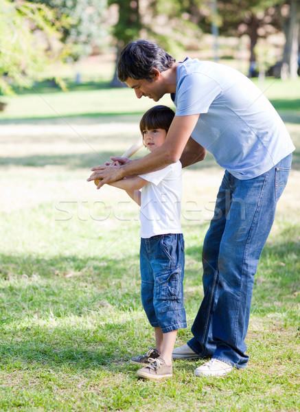 Szerető kicsi fiú játszik baseball apa Stock fotó © wavebreak_media