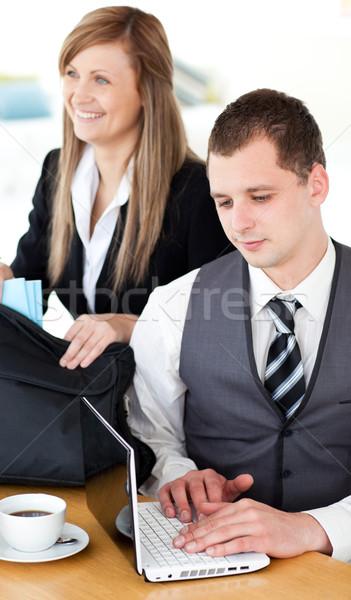 Mosolyog üzletasszony férj otthon üzlet boldog Stock fotó © wavebreak_media