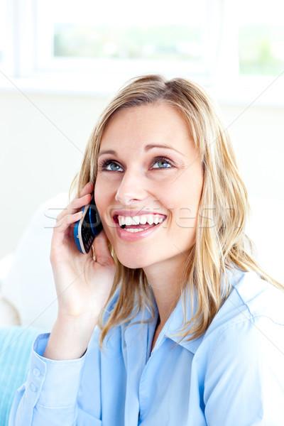 Ravi femme d'affaires parler téléphone bureau affaires Photo stock © wavebreak_media
