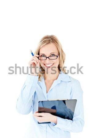 üzletasszony tart vágólap fehér nő toll Stock fotó © wavebreak_media