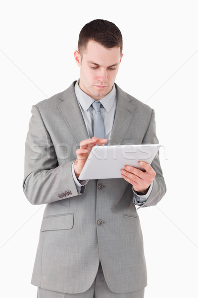 Porträt Geschäftsmann Tablet-Computer weiß Internet Modell Stock foto © wavebreak_media