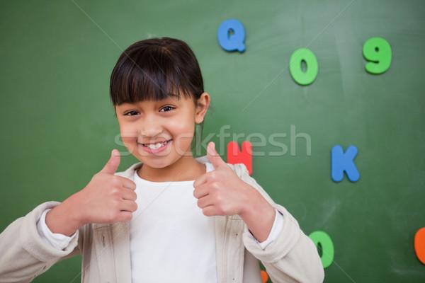 Glücklich Schülerin Tafel Mädchen Lächeln Stock foto © wavebreak_media