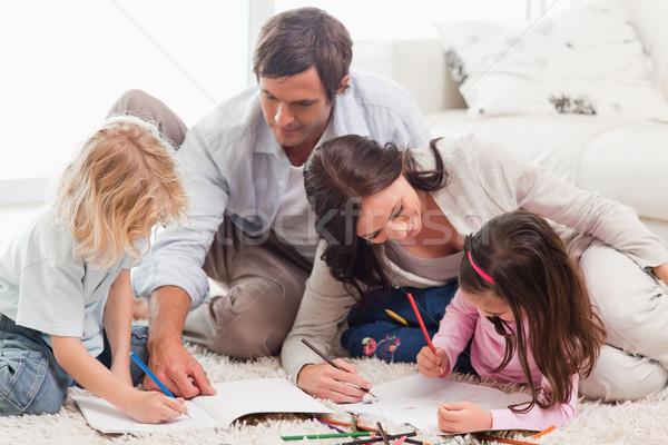 美しい 家族 図面 一緒に リビングルーム 愛 ストックフォト © wavebreak_media