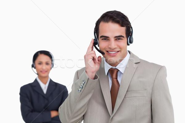 Glimlachend hotline werknemer collega achter witte Stockfoto © wavebreak_media