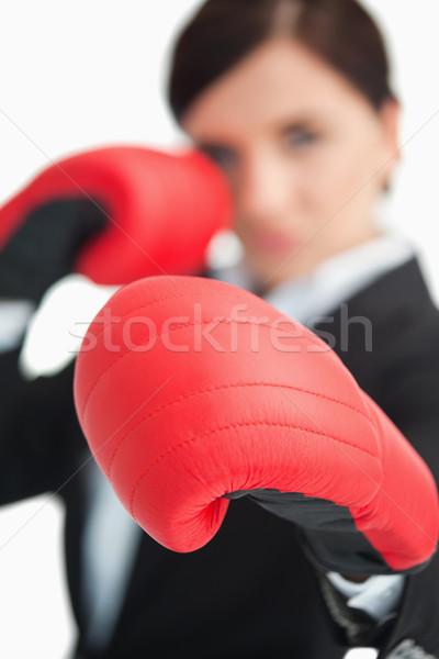 üzletasszony box piros kesztyű fehér szemek Stock fotó © wavebreak_media