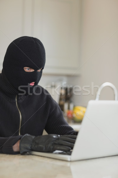 Robber sitting in the kitchen hacking laptop Stock photo © wavebreak_media