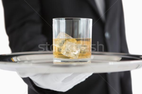 ストックフォト: ウイスキー · 銀 · トレイ · 男 · スーツ