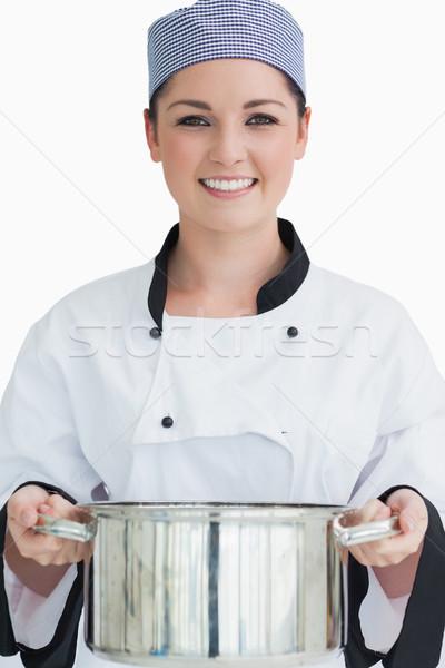 Cook grand pot blanche métal Photo stock © wavebreak_media