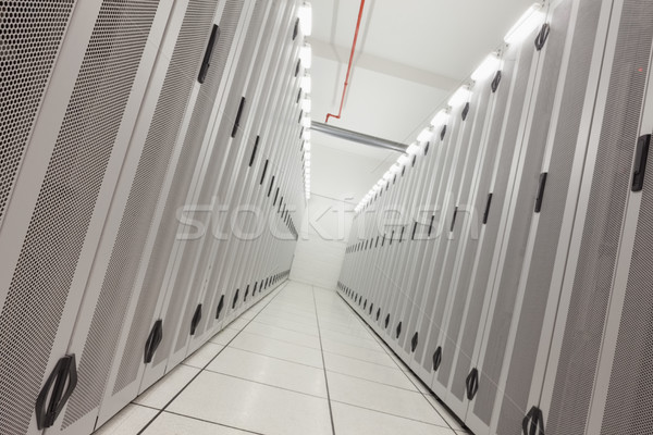 Empty hallway of tower servers Stock photo © wavebreak_media