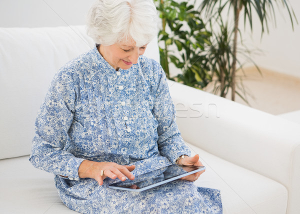 пожилого улыбающаяся женщина цифровой таблетка диван домой Сток-фото © wavebreak_media