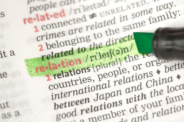 Relation definition highlighted in green Stock photo © wavebreak_media