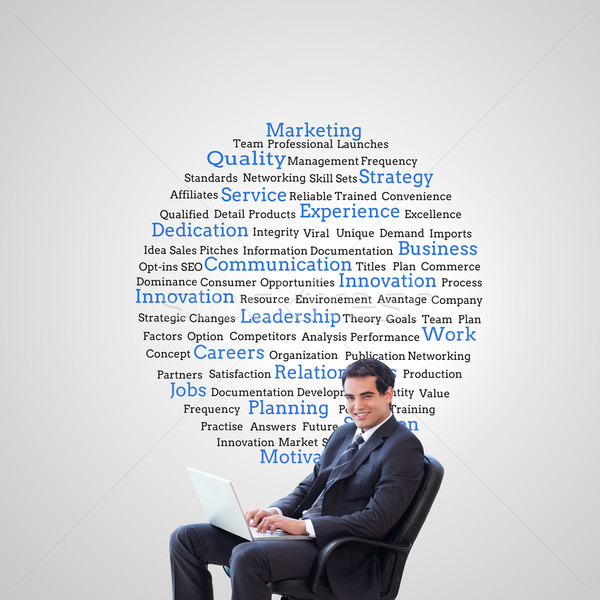 Composite image of young businessman sitting on an armchair work Stock photo © wavebreak_media