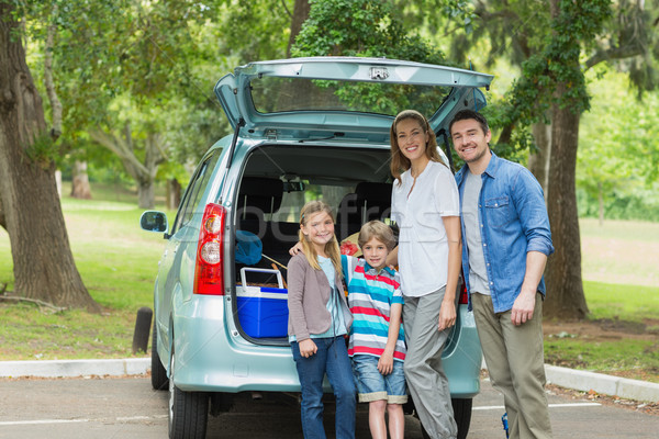 Family of four by car trunk while on picnic Stock photo © wavebreak_media