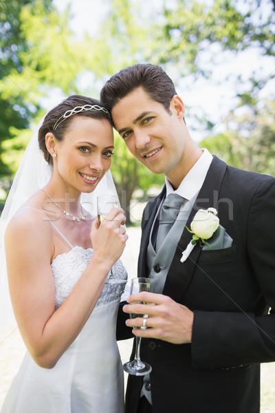 Piękna oblubienicy pan młody szampana flety Zdjęcia stock © wavebreak_media