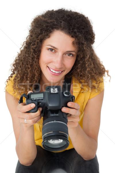 портрет женщины фотограф белый счастливым технологий Сток-фото © wavebreak_media