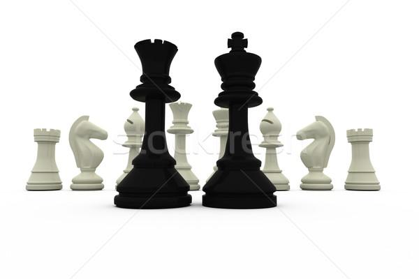 Stockfoto: Zwarte · koning · koningin · permanente · witte · stukken