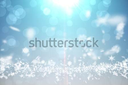 Kék terv fehér hópelyhek digitálisan generált Stock fotó © wavebreak_media