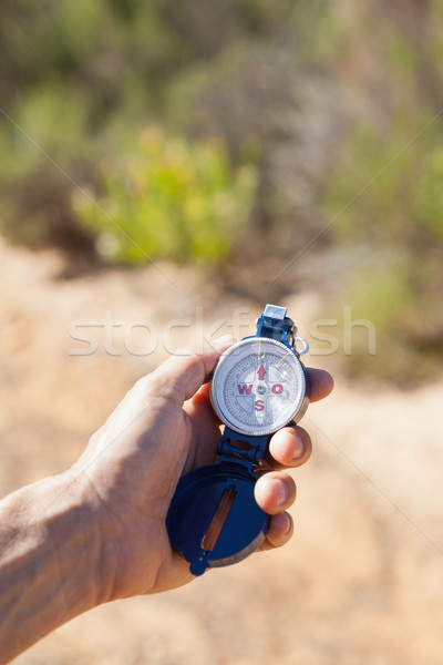 Természetjáró tart iránytű vidék napos idő nyár Stock fotó © wavebreak_media
