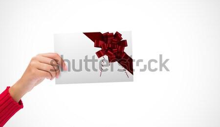 человека женщину подарок белый красный вместе Сток-фото © wavebreak_media