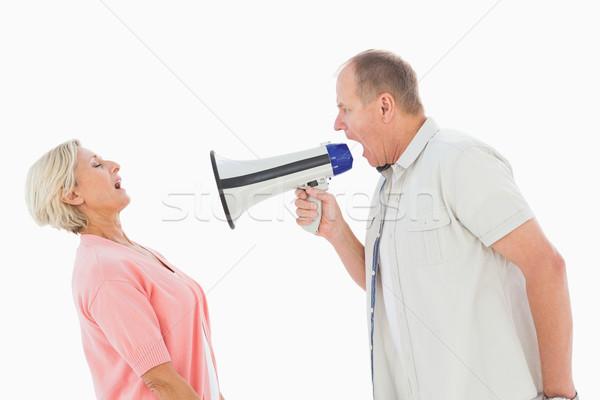 Férfi kiált partner megafon fehér beszél Stock fotó © wavebreak_media